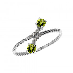 0.16ct Peridot Rope Design Promise Twisted Rope Ring in 9ct White Gold