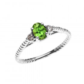 0.25ct Peridot Rope Design Promise Twisted Rope Ring in 9ct White Gold