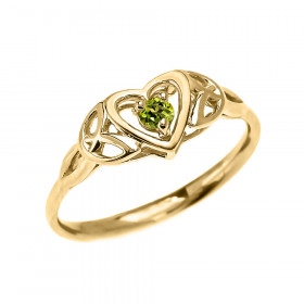 0.08ct Peridot Trinity Knot Heart Ring in 9ct Gold