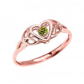 0.08ct Peridot Trinity Knot Heart Ring in 9ct Rose Gold