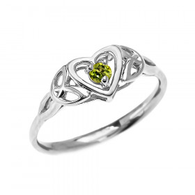 0.08ct Peridot Trinity Knot Heart Ring in 9ct White Gold