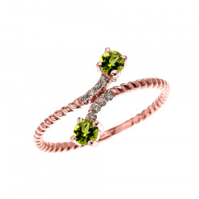 0.16ct Peridot Two Stone Rope Design Promise Twisted Rope Ring in 9ct Rose Gold