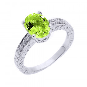 1.0ct Peridot and White Topaz Art Deco Engagement Ring in Sterling Silver