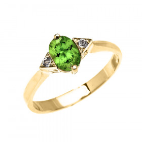0.5ct Peridot and White Topaz Oval Engagement Ring in 9ct Gold