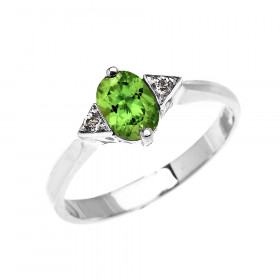 0.5ct Peridot and White Topaz Oval Engagement Ring in 9ct White Gold
