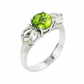 Peridot and White Topaz Ring in Sterling Silver