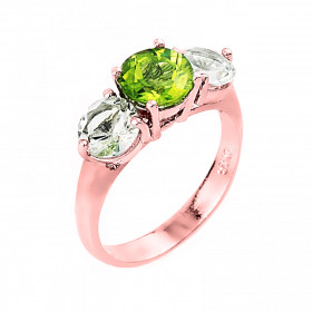 Peridot and White Topaz Three Stone Ring in 9ct Rose Gold
