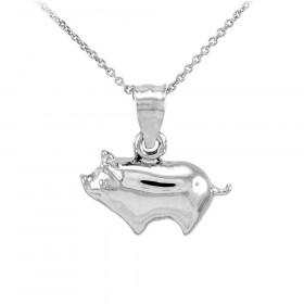 Pig Charm Pendant Necklace in 9ct White Gold