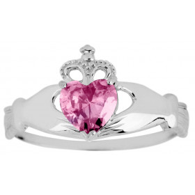 Pink Zirconia Claddagh Ring in 9ct White Gold