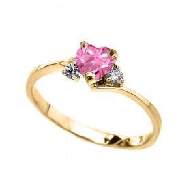 0.5ct Pink Zirconia Heart Promise Engagement Ring in 9ct Gold