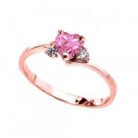 0.5ct Pink Zirconia Heart Promise Engagement Ring in 9ct Rose Gold