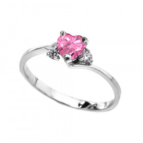 0.5ct Pink Zirconia Heart Promise Engagement Ring in 9ct White Gold