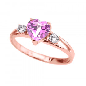 0.75ct Pink Zirconia Heart Promise Ring in 9ct Rose Gold
