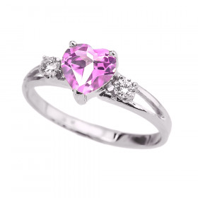 0.75ct Pink Zirconia Heart Promise Ring in 9ct White Gold