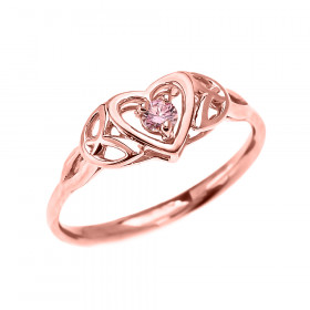 0.06ct Pink Zirconia Trinity Knot Heart Engagement Ring in 9ct Rose Gold