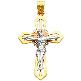 Pious Crucifix Halo Pendant Necklace in 9ct Three-Tone Gold