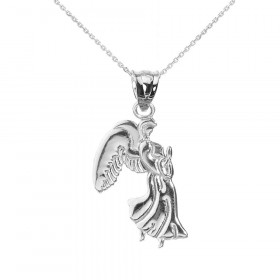 Praying Angel Pendant Necklace in 9ct White Gold