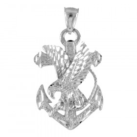 Precision Cut Anchor Eagle Cross Pendant Necklace in 9ct White Gold