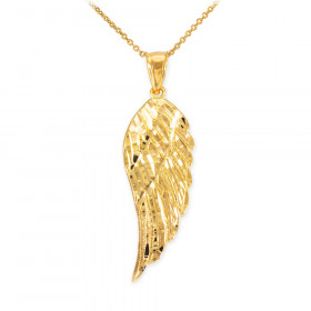 Precision Cut Angel Wing Pendant Necklace in 9ct Gold