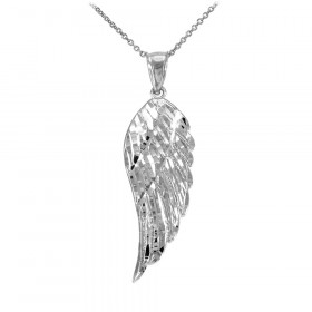 Precision Cut Angel Wing Pendant Necklace in 9ct White Gold