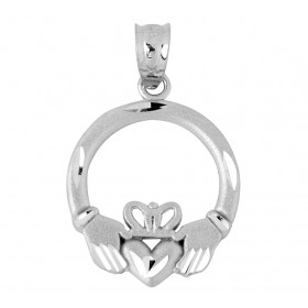 Precision Cut Claddagh Pendant Necklace in 9ct White Gold