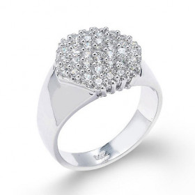 Precision Cut Cluster Prong Vintage Engagement Ring in 9ct White Gold