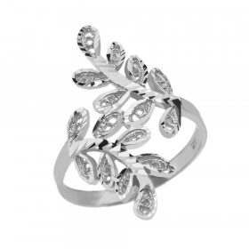 Precision Cut Curved Laurel Wreath Filigree Ring in 9ct White Gold