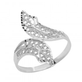 Precision Cut Double Leaf Filigree Ring in 9ct White Gold
