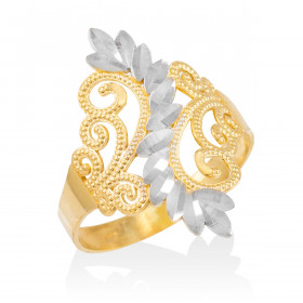 Precision Cut Filigree Ring in 9ct Two-Tone Gold