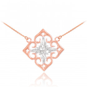 Precision Cut Flower Pendant Necklace in 9ct Two-Tone Gold