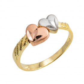 Precision Cut Hearts Ring in 9ct Three-Tone Gold