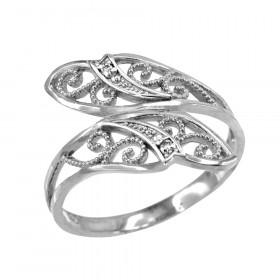 Precision Cut Leaf Filigree Ring in Sterling Silver