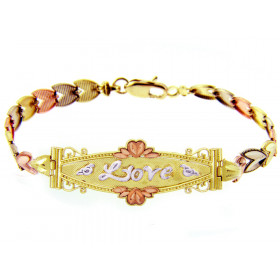 Precision Cut Lots of Love Bracelet in 9ct Gold