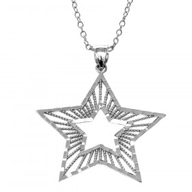 Precision Cut Star Pendant Necklace in Sterling Silver