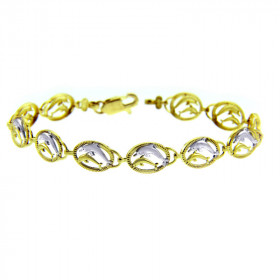 Precision Cut Two Dolphins Bracelet in 9ct Two-Tone Gold