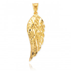Precision Cut Wing Pendant Necklace in 9ct Gold