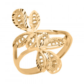Precision Cut Wrap Leaves Filigree Ring in 9ct Gold