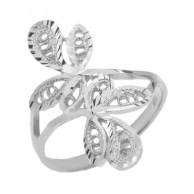 Precision Cut Wrap Leaves Filigree Ring in 9ct White Gold