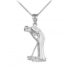 Putter Charm Pendant Necklace in 9ct White Gold