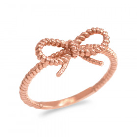 Ribbon Bow Roped Twisted Rope Ring in 9ct Rose Gold