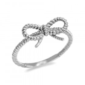 Ribbon Bow Roped Twisted Rope Ring in 9ct White Gold