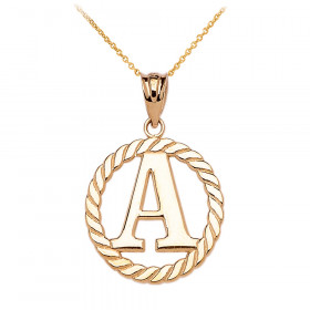 Rope Circle Letter A Pendant Necklace in 9ct Gold