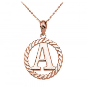 Rope Circle Letter A Pendant Necklace in 9ct Rose Gold