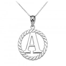 Rope Circle Letter A Pendant Necklace in 9ct White Gold