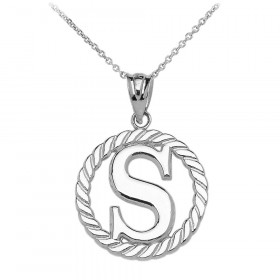 Rope Circle Letter S Pendant Necklace in 9ct White Gold