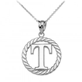 Rope Circle Letter T Pendant Necklace in 9ct White Gold