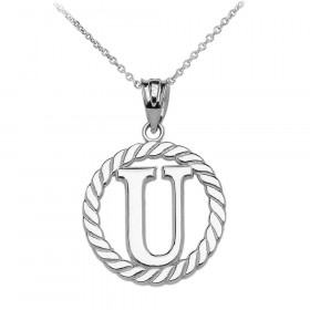 Rope Circle Letter U Pendant Necklace in 9ct White Gold
