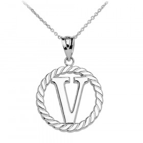 Rope Circle Letter V Pendant Necklace in 9ct White Gold
