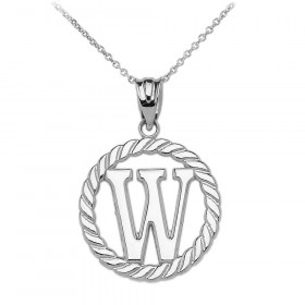 Rope Circle Letter W Pendant Necklace in 9ct White Gold