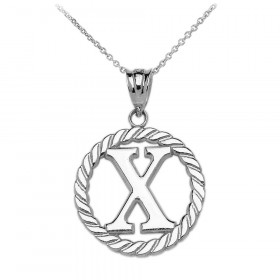 Rope Circle Letter X Pendant Necklace in 9ct White Gold